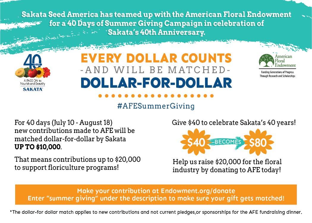 Sakata and AFE 40 Days of Summer Giving