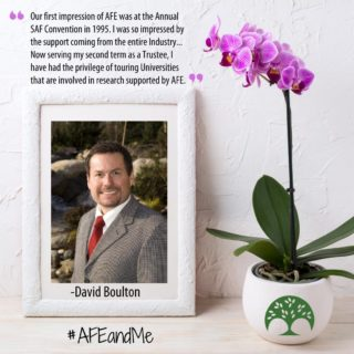 "See the first of our #AFEandMe stories! David Boulton from @FlowersbyGeorge shares his experience, ""Our first impression of AFE was at the Annual SAF Convention in 1995. I was so impressed by the support coming from the entire industry.  When asked to be a part of a Phone-a-thon in 2005 at Teleflora Headquarters, I jumped at the opportunity to make calls to friends in the floral community. The outpouring of support was tremendous. Now serving my second term as a Trustee, I have had the privilege of touring Universities that are involved in research supported by AFE."" ⠀ Share your story here: https://buff.ly/33AEidt⠀ #60thAnniversary #Giveback #FloralIndustry #Research #Internships #Scholarships"