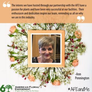 "Ann Pennington from Neal Mast Greenhouses tells us about her experience with AFE as a host of interns, ""Maintaining a strong relationship with the American Floral Endowment, as well as colleges and universities that have well known horticulture programs is key to the success of the Neal Mast Greenhouses internship program. One aspect of being a sustainable business is encouraging the next generation, whether it's in growing, research or commercial production management. Neal Mast provides internship opportunities each year for students pursuing careers in the horticulture industry.⠀ ⠀ The interns we have hosted through our partnership with the AFE have a passion for plants and have been very successful at our facilities. Their enthusiasm and dedication inspire our team, reminding us all on why we are in this industry.  We've made a considerable investment in furnished housing on our property that allows us to host 3+ interns per year. Interns have come from all over the country with a common passion for horticulture and we provide the opportunity for hands on, real world experience in a commercial growing establishment. ⠀ ⠀ Because of our long relationship, the AFE is integral in placing interns at NMG, due to their familiarity with our company, staff and what we have to offer. This past year we hosted 2 students for 6-month internships, allowing them to fully integrate in the company, experience multiple crops and programs and participate in a variety of employee events. ⠀ NMG is very much looking forward to hosting more interns in 2021 – thank you AFE! "" Would you like to share your story too? You can, by tagging us on social media or filling out the form here: https://buff.ly/33AEidt #AFEandMe #60thAnniversary #Giveback #FloralIndustry #Research #Internships #Scholarships"