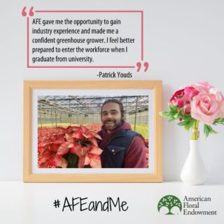 Patrick Youds from Neal Mast Greenhouses has been involved with AFE through some of our internships and scholarships. Here's his #AFEandMe story! ⠀ You can share your story too by tagging us on social media or filling out the form here: https://buff.ly/33AEidt  #60thAnniversary #Giveback #FloralIndustry #Research #Internships #Scholarships